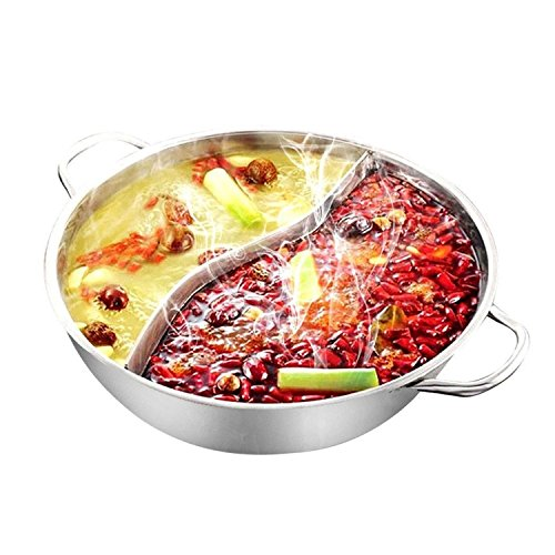 28cm Hot Pot Twin Divided Stainless Steel 28cm Cookware Hot Pot Ruled Compatible Soup Stock Pots Home Kitchen by Gogil (Image #7)'