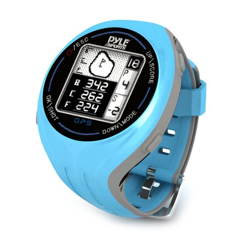 Pyle PSGF605BL GPS Smart Golf Watch with Course Recognition, Green Locator, Distance Calculator and Scoring System