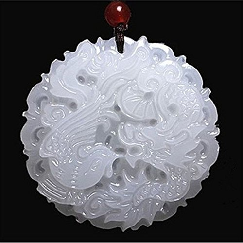 Natural Afghanistan White Jade Fashion Dragon and Phoenix Jade Pendants 48 mm by 6 (White Jade Dragon)
