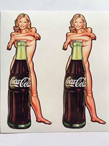 2 Coca-Cola Bottle with Nude Blonde Pinup Die Cut Decals
