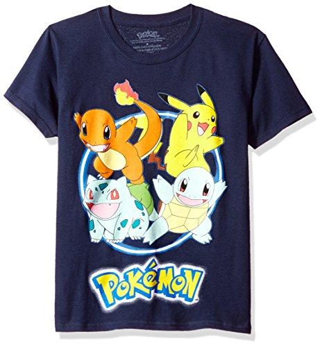 T-shirt Shot Youth (Pokemon Big Boys Group Shot Youth Short-Sleeved Tee Tearaway Label, Navy, XL)