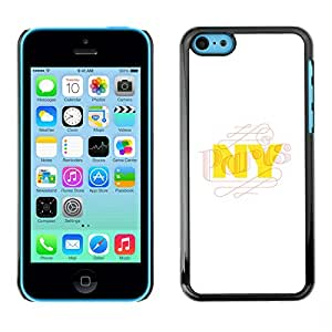 X-ray Impreso colorido protector duro espalda Funda piel de Shell para Apple iPhone 5C - Nyc New York City Yellow White