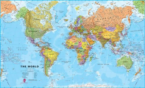 Extra Large World Wall Map (political) - Laminated and pinboard mounted