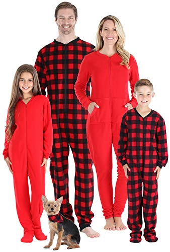 Sleepyheads Family Matching Fleece Buffalo Plaid Onesie Pajamas - Toddler & Kid's (SHM-PLA-K-4T)
