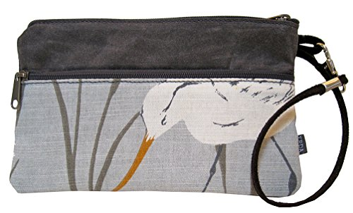 """perfect Wallet"" Jacquard Fabric And Waxed Canvas - Artisan Made (sea Bird) 009"