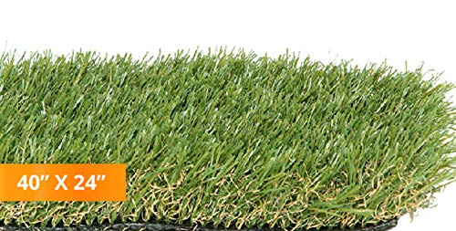 PZG Premium Artificial Grass Patch w/ Drainage Holes & Rubber Backing | 4-Tone Realistic Synthetic Grass Mat | 1.6-inch Blade Height  | Lead-Free Fake Grass for Dogs or Outdoor Decor | Size: 40
