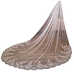 U-Hotmi Women Cathedral Wedding Veil Long Bridal Veil Lace Sequins Edge with Metal Comb