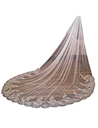 U-Hotmi Long Wedding Veil Lace Sequins Edge Cathedral Wedding Bridal Veil with Metal Comb, Ivory
