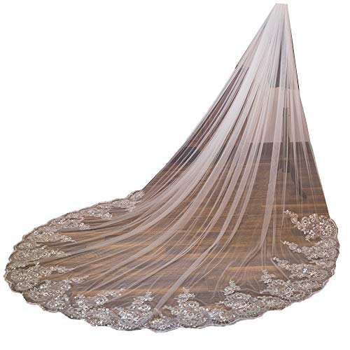 U-Hotmi Long Wedding Veil Lace Sequins Edge Cathedral Wedding Bridal Veil with Metal Comb, Ivory