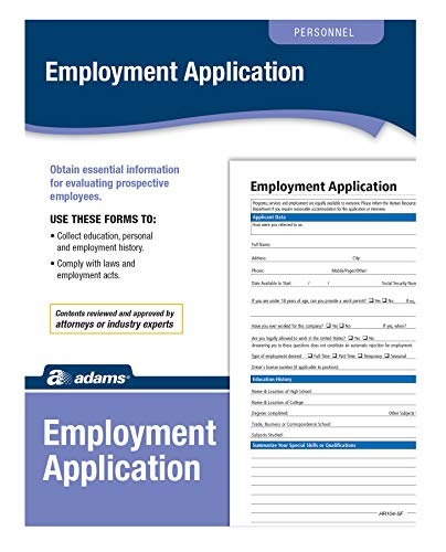 Employment Application Form - Adams Application for Employment, Forms and Instructions, 50 Forms per Pack (HR104)