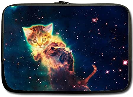 Cosmic Cute Cat with Galaxy Space Pattern Neoprene Sleeve Pouch Case Bag for 11.6 Inch Laptop Computer Designed to Fit Any Laptop//Notebook//ultrabook//MacBook with Display Size 11.6 Inches