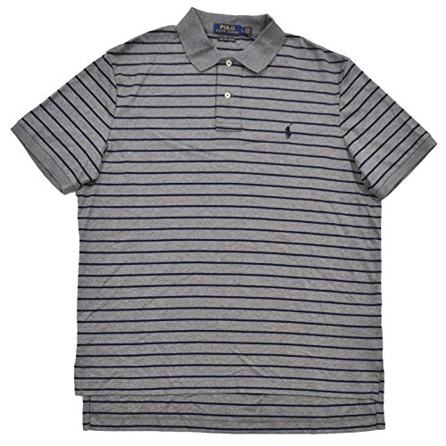 Polo Ralph Lauren Mens Pima Cotton Interlock Polo (L, Winter Gray Striped) (Striped Shirt Ralph Lauren Rugby)