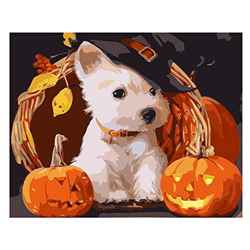 LanMent DIY Painting by Numbers Pumpkin Lanterns and Dog Halloween, Drawing Paint by Number Kits for Adults Beginners Kids Teens Drawing with Brushes Canvas, 16x20inch -