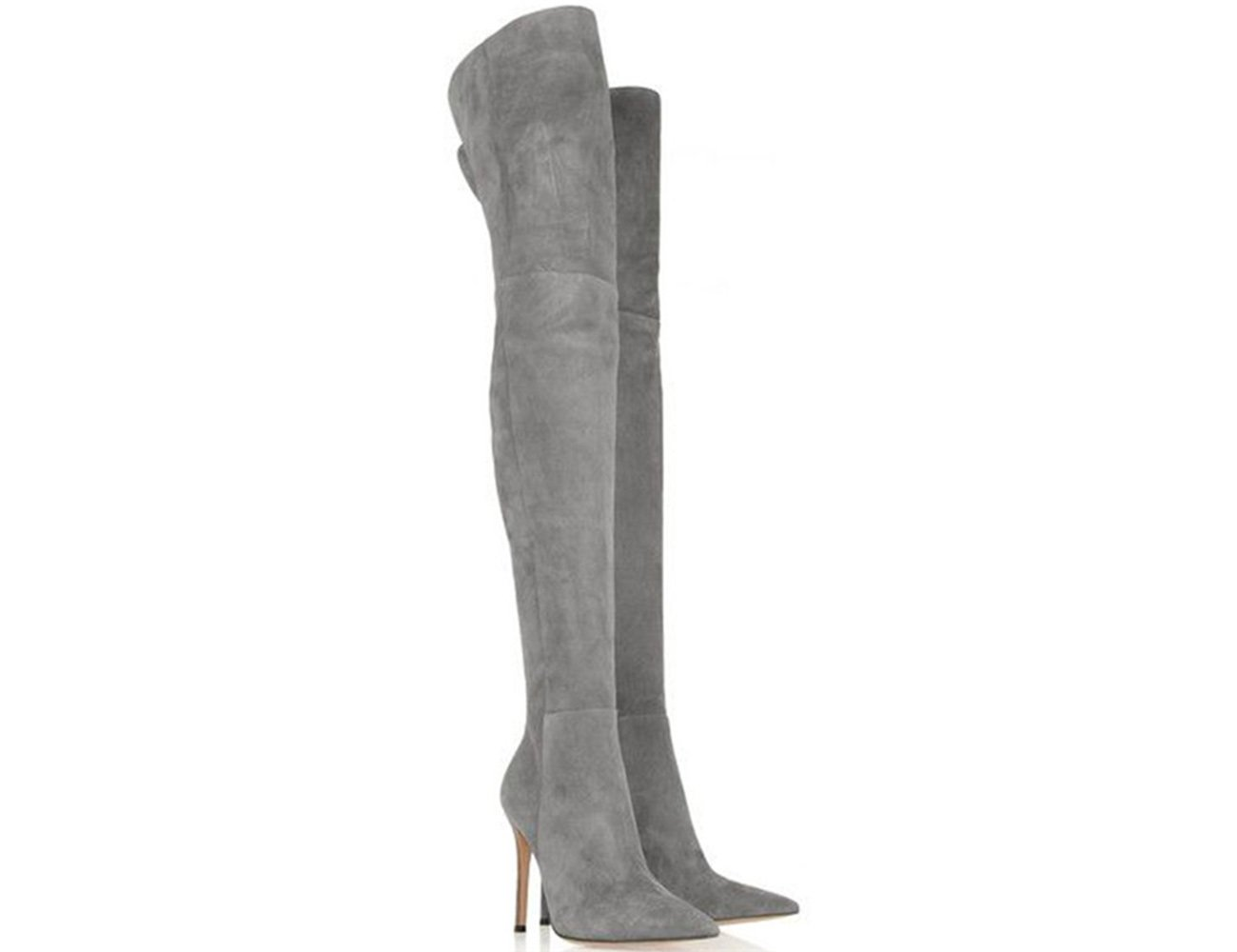 Themost Women's Pointed Toe Thigh Boots Over Knee High Boots Stretch Suede Stilettos Boots B074X7QY1G 13|Gray