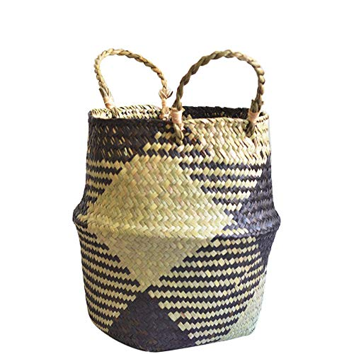 Natural Woven Seagrass Belly Basket Storage, MatureGirl 4 Colors Practical Plant Pot Collapsible Nursery Laundry Tote Bag with Handles (Black) ()