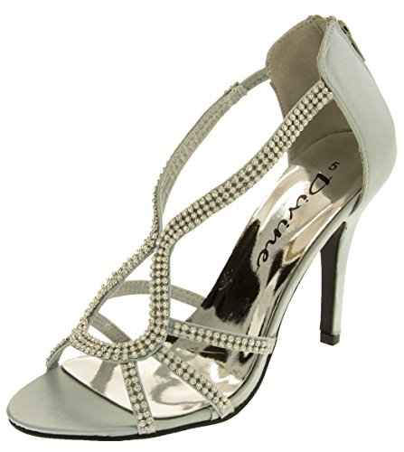 Divine Womens Silver Satin And Diamante High Heel Party Sandals 9 B(M) US Divine High Heel Heels