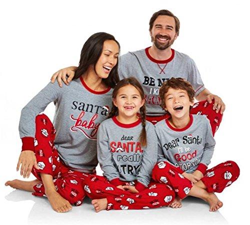 U-WARDROBE Christmas Matching Pajamas Set Family Santa Claus Nightwear Homewear Girl XL]()