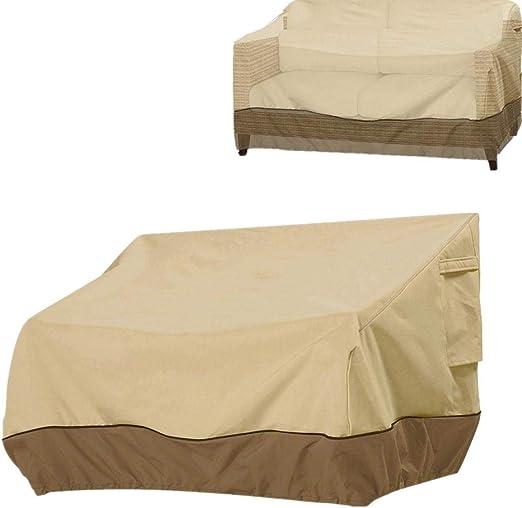 Funda de sofá jardín con cordón Impermeable a Prueba de Polvo Cubierta de protección UV para Lounge Bench Love Seat 2 plazas / 3 plazas al Aire Libre 224 × 83 × 84cm: Amazon.es: Hogar