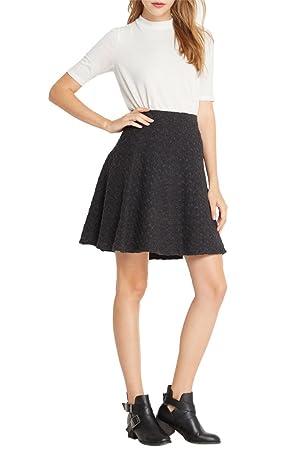 Women's Fashion Trendy High Waist Wool Knit Twist Circle Skirt GY M