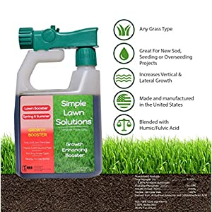 Simple Lawn Solutions Extreme Grass Growth Lawn Booster- Natural Liquid Spray Concentrated Fertilizer with Fulvic & Humic Acid- Any Grass Type (32 oz. w/Sprayer)