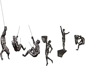 Olpchee 6Pcs Industrial Style Retro Resin Climbing Man Wall Sculpture Creative Hanging Figurine Home Office Decor Statue (Silver Rust)