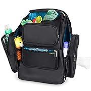 MyLimonada Diaper Bag Backpack Organizer Stroller Straps, Changing Pad, Wipes Dispenser, Thermal-Insulated Pocket (Black)