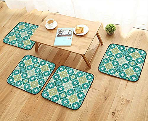 Jiahonghome Simple Modern Chair Cushions Colorful Moroccan Tiles Ornaments Can be Used for Wallpaper,Pattern Fills,Web Page Reusable Water wash W27.5 x L27.5/4PCS Set
