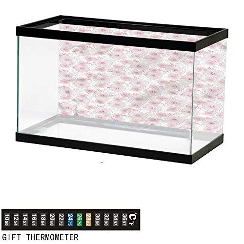 bybyhome Fish Tank Backdrop Abstract,Lilies Dotted Heart,Aquarium Background,36