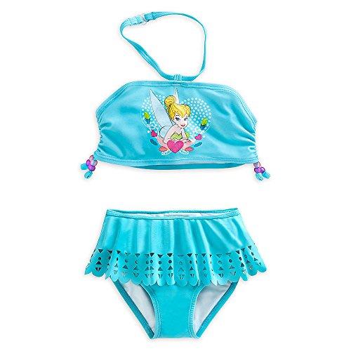 Disney Store Deluxe Tinkerbell Tinker Bell Teal Swimsuit Size S 5 - 6 5T Bikini (Tinkerbell Bathing Suit)