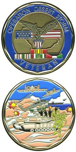 United States Military US Armed Forces Operation Desert Storm Veteran - Good Luck Double Sided Collectible Challenge Pewter Coin by Eagle Crest (Desert Storm Game)
