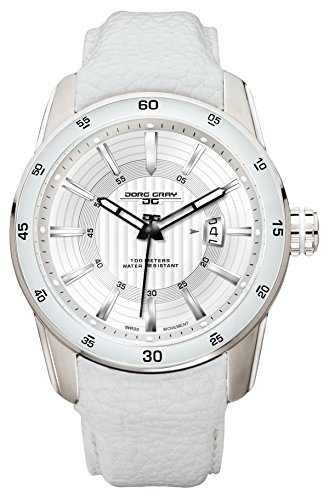Jorg Gray JG3700-13 White Leather Silver Swiss ISA Movement Patterned Mens Wrist Watch by Jorg Gray
