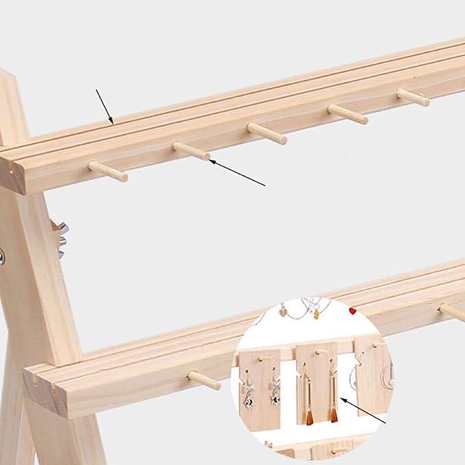 TOPBATHY - Expositor de pendientes de madera con 2 capas para ...
