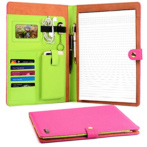 CORNMI Travel Portfolios, Padfolio Portfolio Case, PU Leather File Folders with 5 Card Slots & Phone/iPad Pockets - Presentation Office Organizer Folder (Business Portfolio Padfolio-Rose)