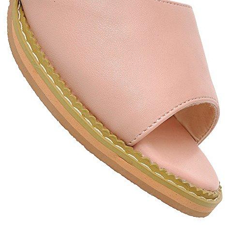 AllhqFashion Puntera Abierta Hebilla Sólido Tacón ancho Sandalias de vestir Rosa