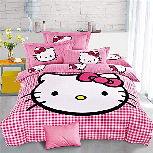 Olwen Shop 3D and Cartoon Duvet Cover Set - Home Textiles Cartoon Purple Hello Kitty Bed Linen for Children Quilt Duvet Cover Pillow Bedding Sets Twin Full Queen Size (Kitty Set Hello Twin Bedroom)