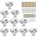 HOMEIDEAS 10PCS 40MM Diamond Crystal Glass Cabinet Knob Cupboard Drawer Pull Handle,3 Size Screws