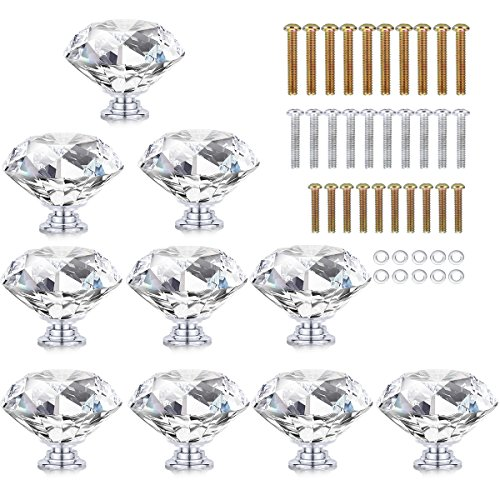 HOMEIDEAS 10PCS 40MM Diamond Crystal Glass Cabinet Knob Cupboard Drawer Pull Handle,3 Size Screws