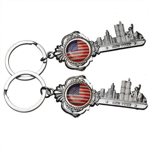 2x Key Shaped NY skyline Metal Keychains With US Flag Statue of Liberty NYC World Trade Center with American Flag US Patriotic Keychain NY Souvenir Gift Key Chain Ring - Set of 2 (New York Skyline One World Trade Center)