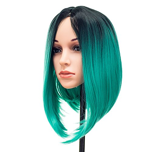 SWACC Ombre Colors Short Hair Costume Wigs Straight Bob Wig for Cosplay Party (Teal Blue) -