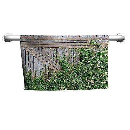 Flowered Farm House Decor,Bamboo Fence Covered by Ivy Daisy Flower Blooms Chamomile Petals Picture,Green and Light Brown,freestanding Towel Racks for Bathroom