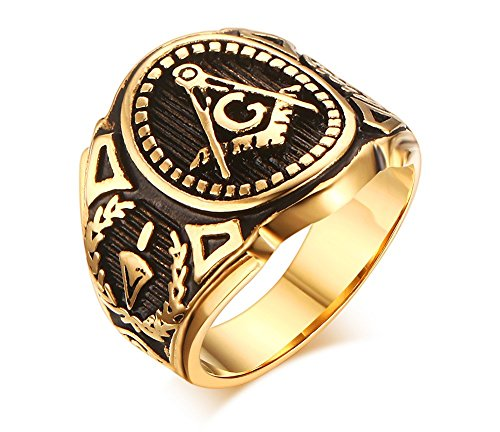 Stainless Steel Gold Plated Vintage Freemason...
