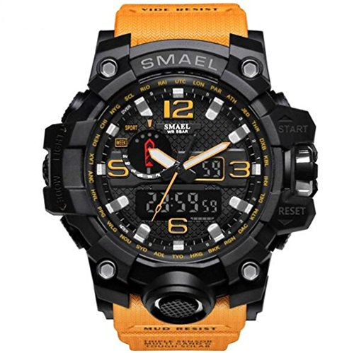 SMAEL men's sports watch outdoor waterproof watch double electronic quartz movement backlit army - Orange Mall Hours