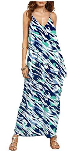 Dresses Summer Print Spaghetti Neck Maxi V Long Strap Jaycargogo Women Boho 6 7fwq5Wv