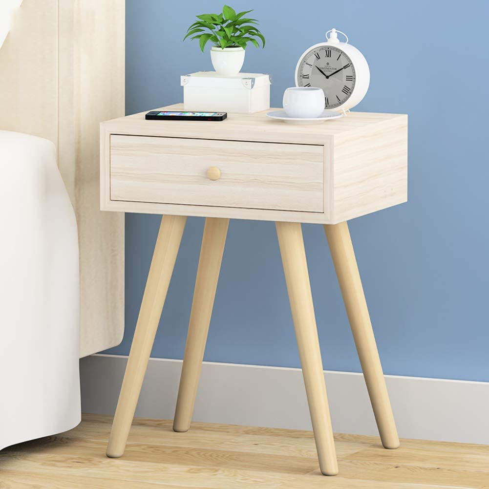 cj-CJ Bedside Table Solid Wood Legs nightstand with Storage Drawer Nightstand End Table Side Table-C 40x30x54cm(16x12x21)