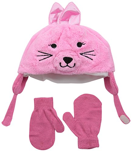 Aquarius Baby Infant Faux Fur Bunny Face Trapper with Magic Mitten Set, Pink, One - Mittens Fur Faux Baby