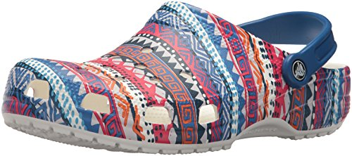 Crocs Unisex Classic Printed Clog Mule, Blue Jean/White, 12 US Men/14 US Women by Crocs