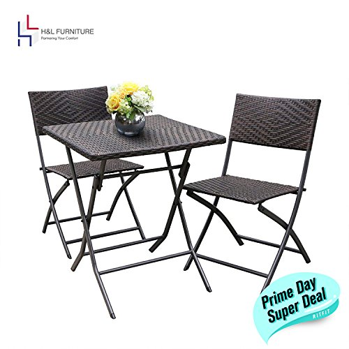 H&L Patio Resin Rattan Steel Folding Bistro Set, Parma Style, All Weather Resistant Resin Wicker, 3 PCS Set of Foldable Table and Chairs, Color Espresso Brown, 1 Year Warranty Review