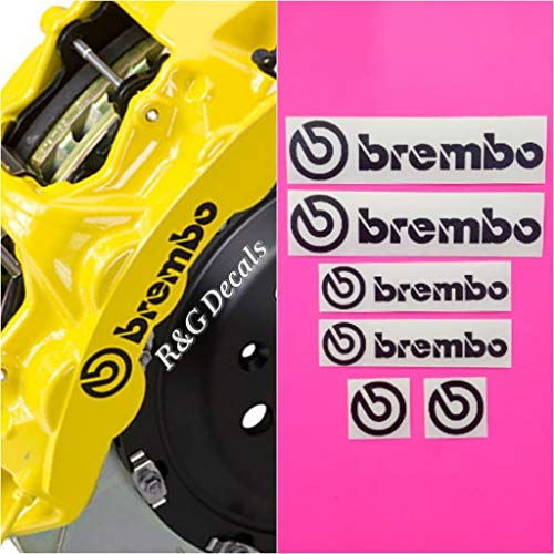 R&G Brembo Decal Combo Package for 6 Piston & 4 Piston & Brembo Logos Brake Caliper Decal Sticker High Temp Set of 6 Decals (Black Matte) ()