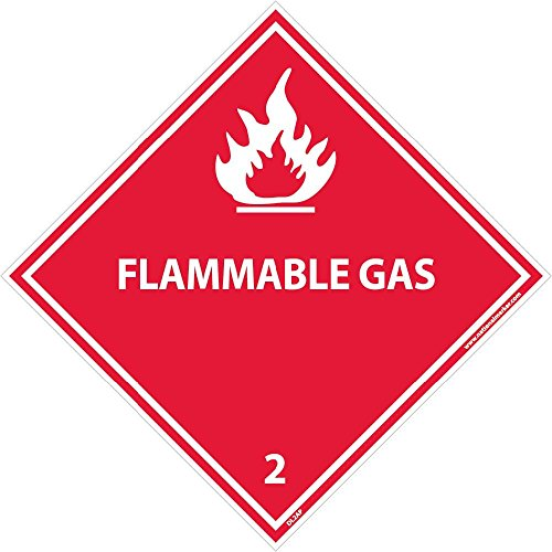 DL2AP National Marker Dot Shipping Labels, Flammable Gas 2, 4 Inches x 4 Inches, Ps Vinyl, 25/pk (Pack of 25) - Hazardous Shipping Labels