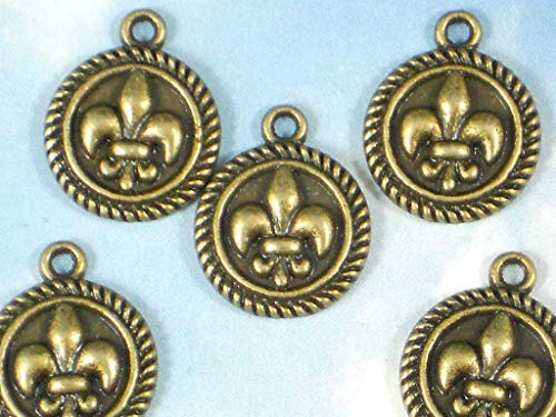 Pendant Jewelry Making 8 Fleur de Lis Round Charms Bronze Tone Rope Edge Disk Dangles NOLA Fluer